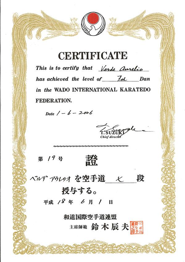 Diploma 7° Dan Wikf