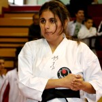 Michela Verde si concentra  prima di iniziare il kata Wanshu.