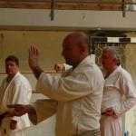 il M° Verde spiega la tecnica finale del kata Niseishi.