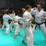 Dimostrazione del 2° San bon kumite jodan. In primo piano Elisa M. e Mario M.