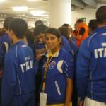 Jesolo. Michela   in coda con la squadra WIKF Italia  per  l'iscrizione al Campionato Europeo WIKF.