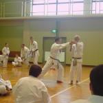 Il prof. Suzuki spiega la leva articolare del 5° kihon kumite.