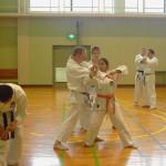 Simon Coope e Michela Verde provano il 5° kihon kumite.