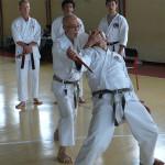 Giugno 2007 - Milano - Seminario Wikf.  Il Prof T.Suzuki 8° Dan Hanshi   spiega il 9° Tanto Dori (difesa da coltello) col M° A.Verde 7° Dan.